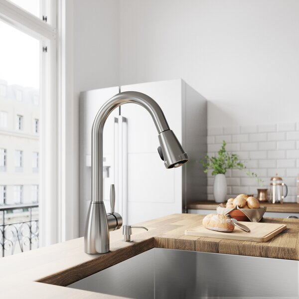Graham Pull Down Single Handle Kitchen Faucet with Optional Soap Dispenser by VIGO