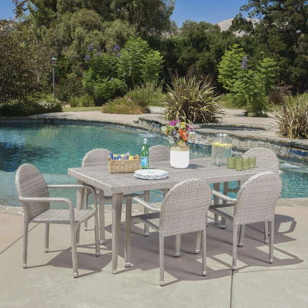Georgianne Outdoor Wicker 7 Piece Dining Set by Ivy Bronx