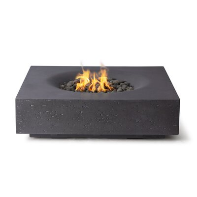 17 Stories Behr Concrete Fire Pit Table  Finish: Charcoal Gray, Fuel Type: Natural Gas