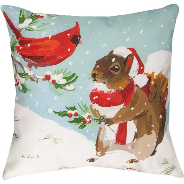 Cardinal and Squirrel Throw Pillow by Manual Woodworkers & Weavers