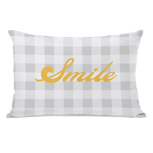 Smile Gingham Throw Pillow by One Bella Casa