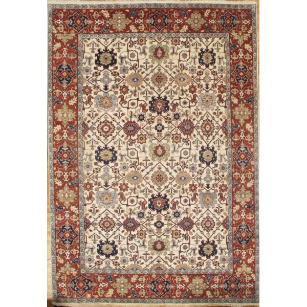 Mahal Hand Knotted Wool Red/Cream Area Rug by Pasargad NY