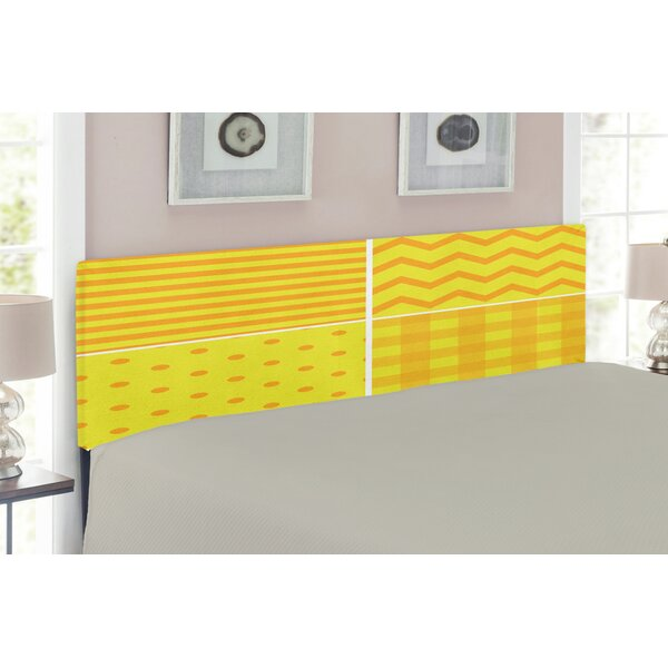 Yellow Patterns Upholstered Panel Headboard by East Urban Home