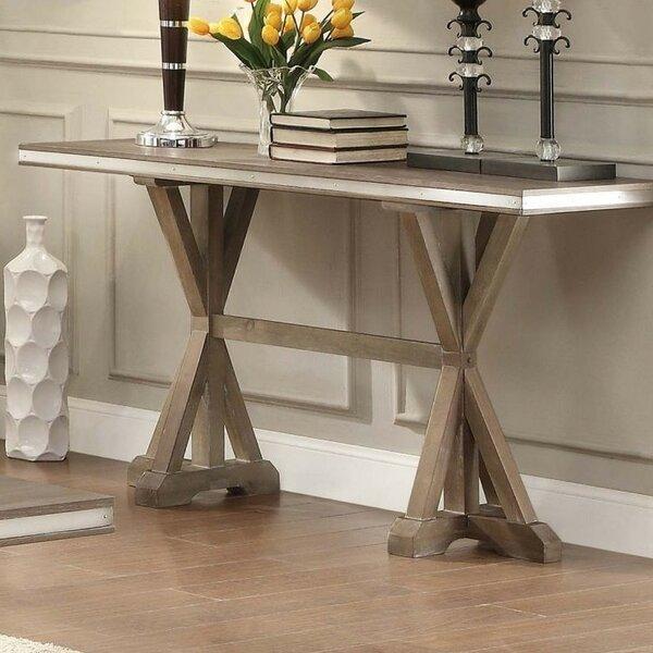 Krajewski Metal Banded Wooden Rectangular Console Table by One Allium Way