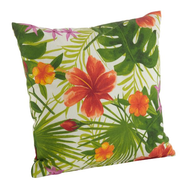 Tropical Hibiscus Floral Indoor/Outdoor Throw Pillow by Saro