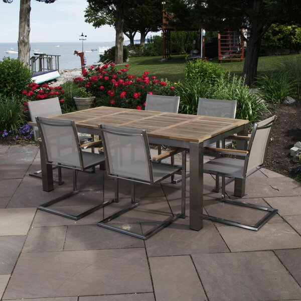 Bali 7 Piece Teak Dining Set with Cushions by Madbury Road