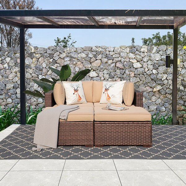 Ioar 4 Piece Rattan Sofa Seating Group with Cushions by Ebern Designs