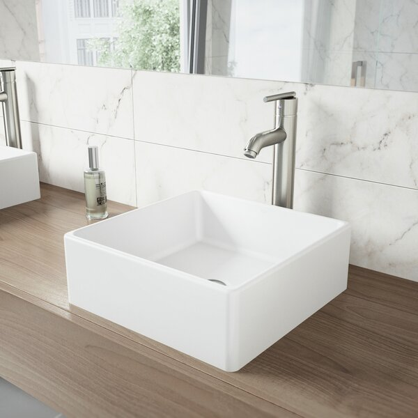 Matte Stone Square Vessel Bathroom Sink by VIGO