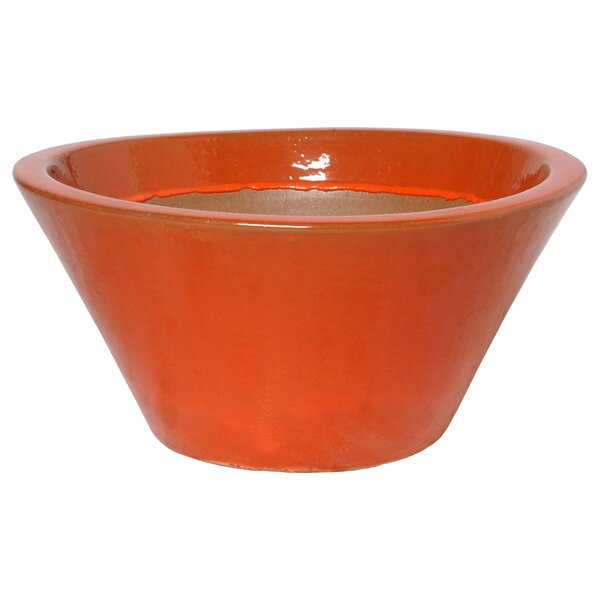 Round Low Ceramic Pot Planter by Emissary Home and Garden