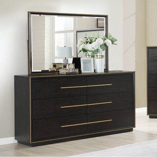 Blairstown Wood 6 Drawer Double Dresser with Mirror by Everly Quinn