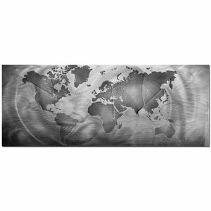 Monochrome Land and Sea World Map Minimalist by Modern Crowd Graphic Art by Metal Art Studio