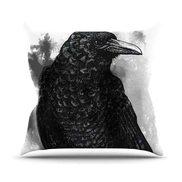 Crow Outdoor Throw Pillow by East Urban Home