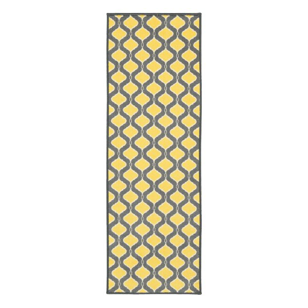 Vathylakas Trellis Gray/Yellow Area Rug by Beachcrest Home