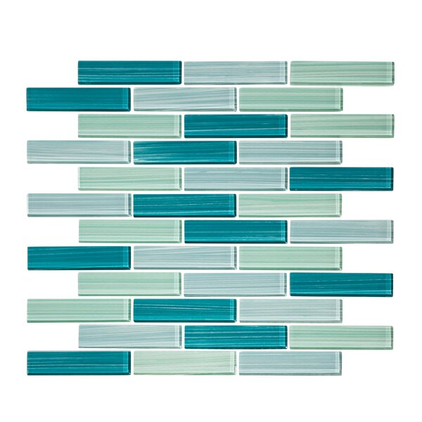 Tropical Reflection 1 x 3 Glass Mosaic Tile in Blue by Vicci Design