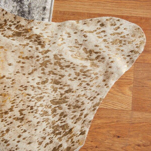 Designer Cowhides Gold Acid Wash on/off White Area Rug by Trophy Room Stuff