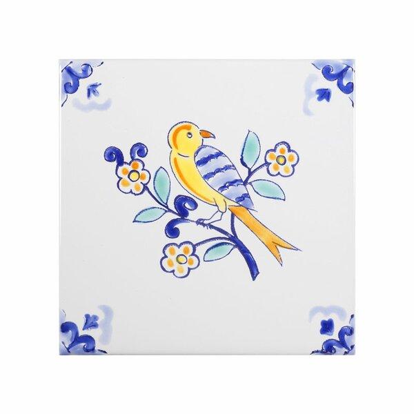 Mediterranean 4 x 4 Ceramic Robin Decorative Tile in Blue by Casablanca Market
