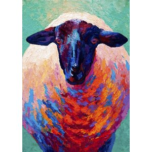 'Sheep' by Marion Rose Painting Print  on Wrapped Canvas by Buy Art For Less