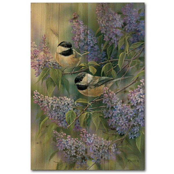Chickadees and Lilac Painting Print Plaque by WGI-GALLERY
