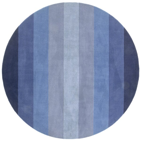Degarmo Tufted Cotton Blue Stripes Area Rug by Mercury Row