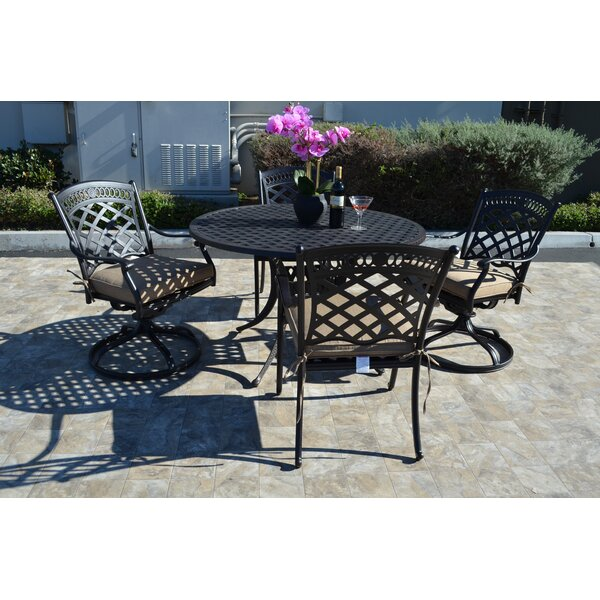 Wildermuth 5 Piece Rocker Dining Set with Cushions by Fleur De Lis Living