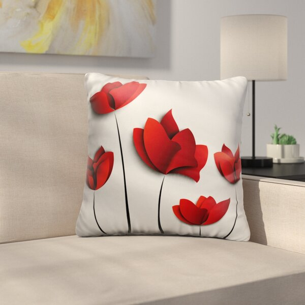 Bourque Red Poppies Throw Pillow by East Urban Home