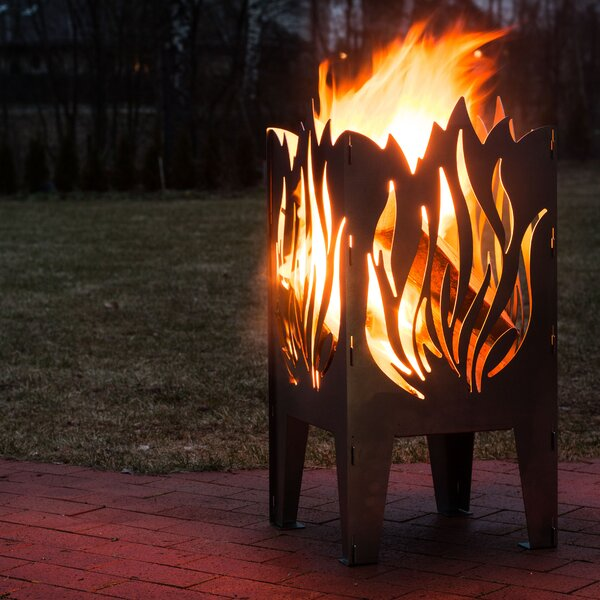 Flame Solid Steel Wood Fire Pit by Curonian