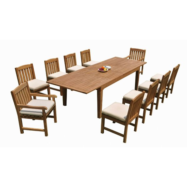 Kadin 11 Piece Teak Dining Set by Rosecliff Heights