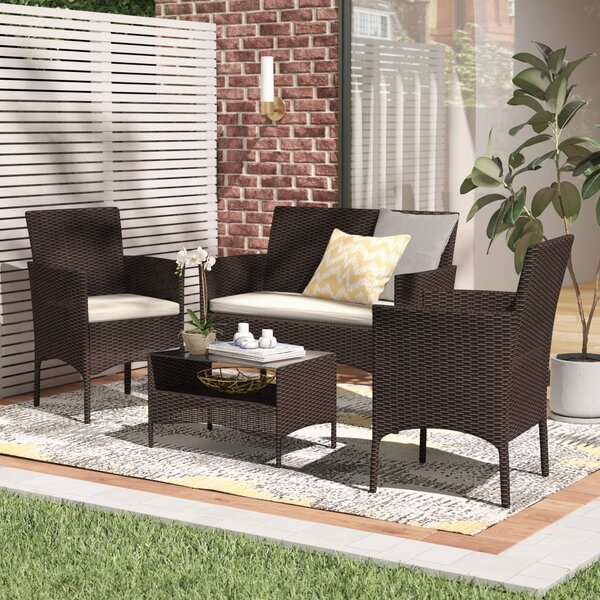 Woodland Park 4 Piece Sofa Set with Cushions by Wa