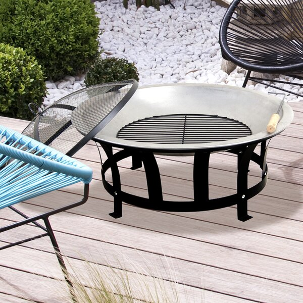 Stainless Steel Black & Silver Fire Pit by Astella