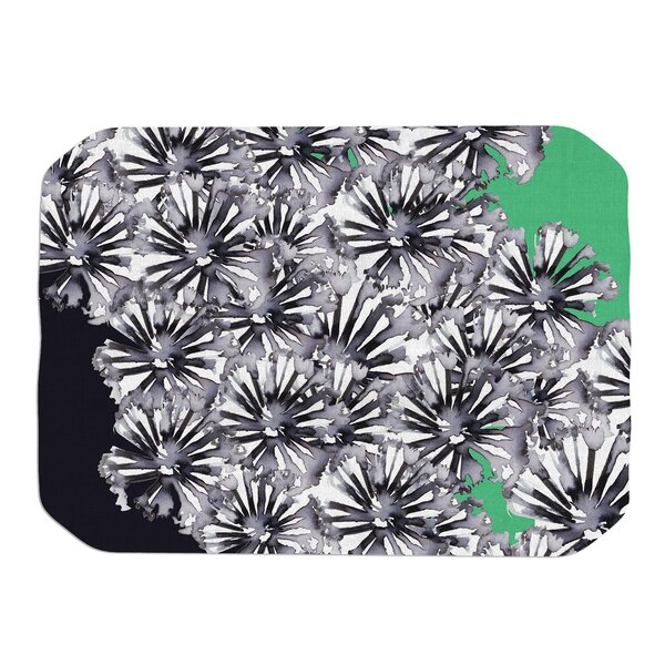 Inky Flowers on Green Placemat by KESS InHouse