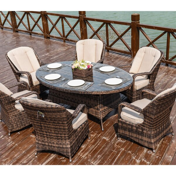 Arverne 7 Piece Dining Set with Cushions by Canora Grey