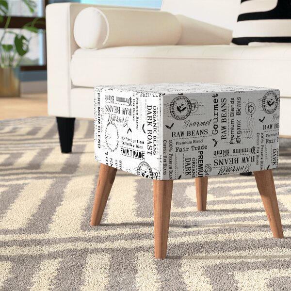 Himrod Newspaper Print Ottoman by Wrought Studio