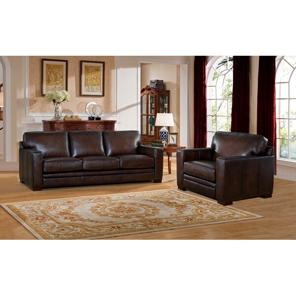 Mcdonald Leather 2 Piece Living Room Set By World Menagerie 2019 Sale
