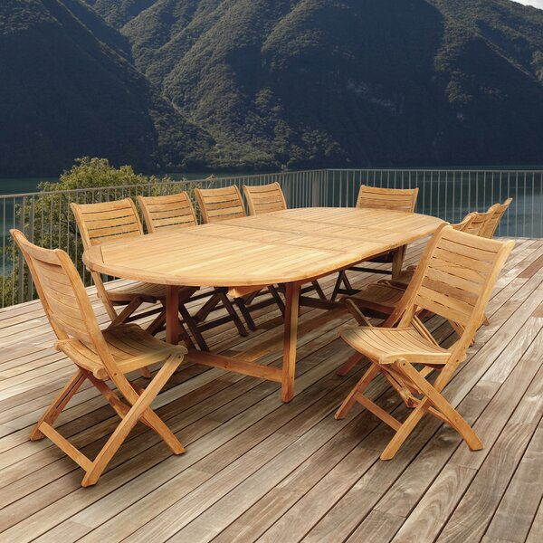 Treiber International Home Outdoor 11 Piece Teak Dining Set by Highland Dunes