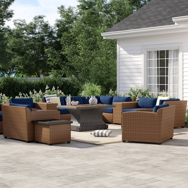 Waterbury 17 Piece Rattan Sectional Seating Group with Cushions by Sol 72 Outdoor