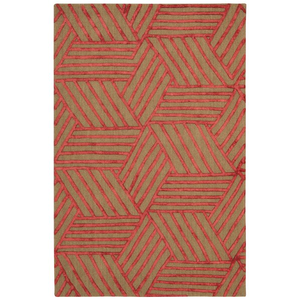 Jandreau Hand-Tufted Latte/Red Area Rug by Brayden Studio