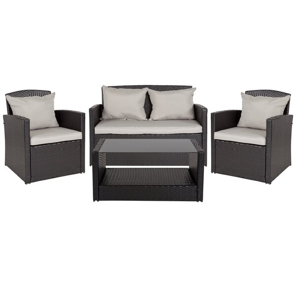 Accomac 4 Piece Rattan Complete Patio Set with Cushions by Charlton Home