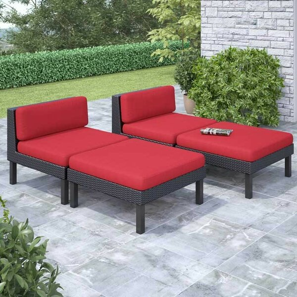 Zoar 4 Piece Patio Lounger Set by Breakwater Bay