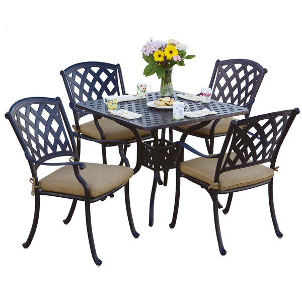 Campton Contemporary 5 Piece Dining Set with Cushion by Fleur De Lis Living