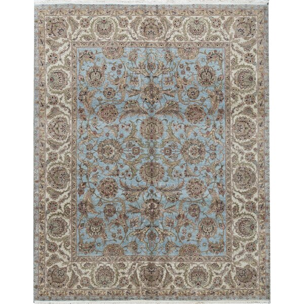 Oriental Hand-Knotted 8.1' x 10.1' Wool Light Blue/Ivory Area Rug