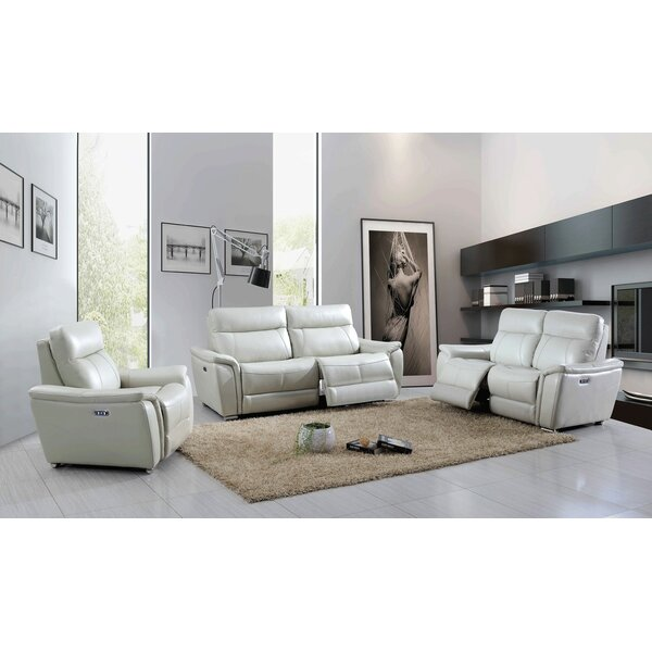 Meister Reclining Electric 3 Piece Leather Living Room Set by Latitude Run