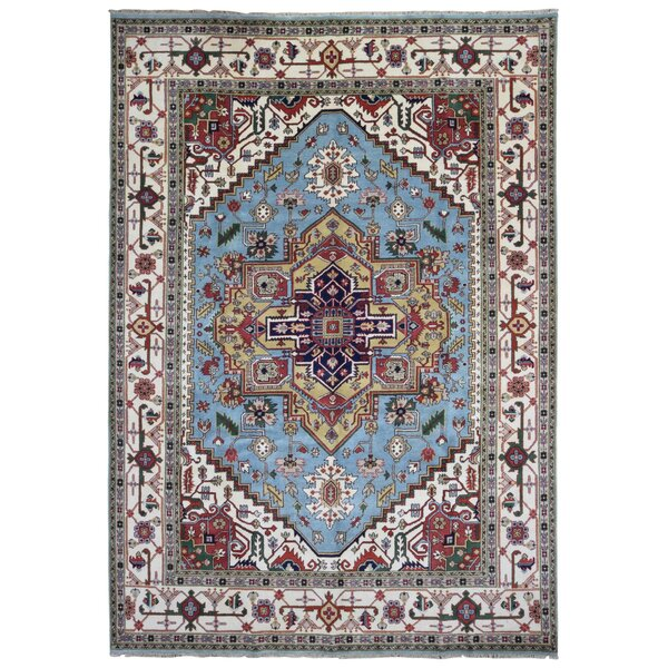 One-of-a-Kind Etchison Oriental Hand Woven Wool Blue/Beige Area Rug by Isabelline