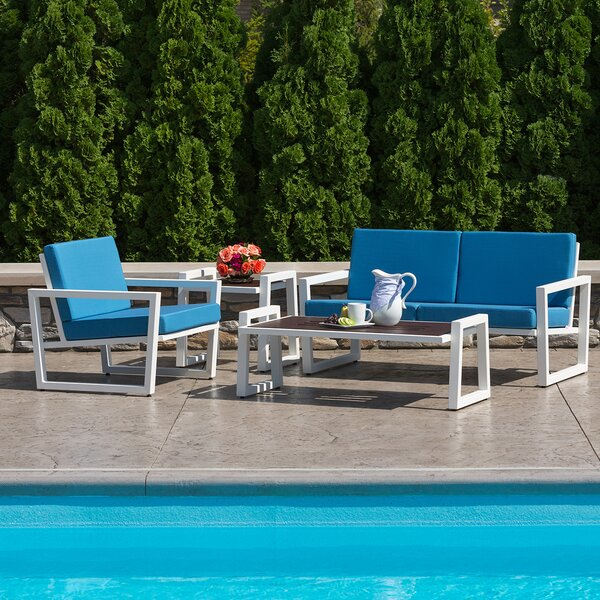 Vero 4 Piece Sunbrella Sofa Set with Cushions by Elan Furniture
