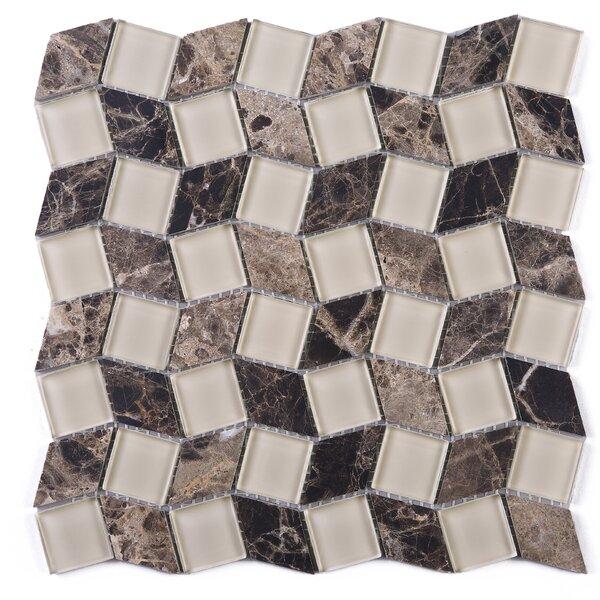 Geometry Diamond Emperador 1.3 x 1.3 Marble Mosaic Tile in Brown by Multile