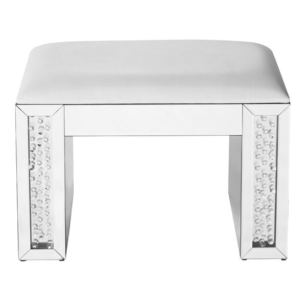 Latrell Crystal Leather Vanity Stool by Rosdorf Park