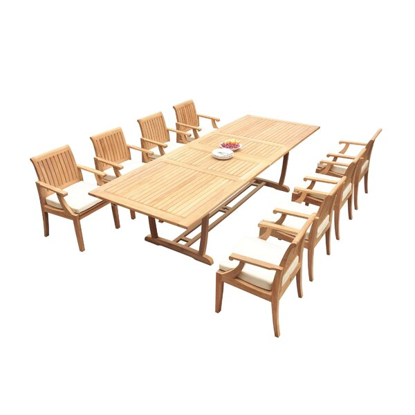 Euart 9 Piece Teak Dining Set by Rosecliff Heights