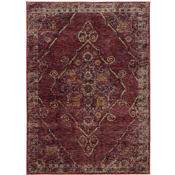 Rosalia Medallion Red/Gold Area Rug by Bloomsbury Market