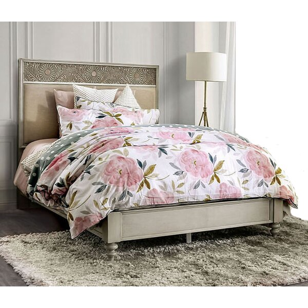 Wauwatosa Resin Floral Design Upholstered Standard Bed by Ophelia & Co.