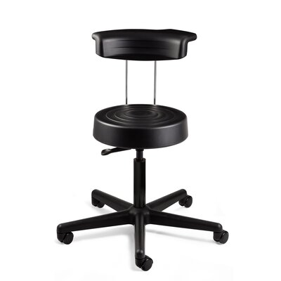 ErgoLux Height Adjustable Stool With Backrest And Dual Wheel Hard Floor  Casters