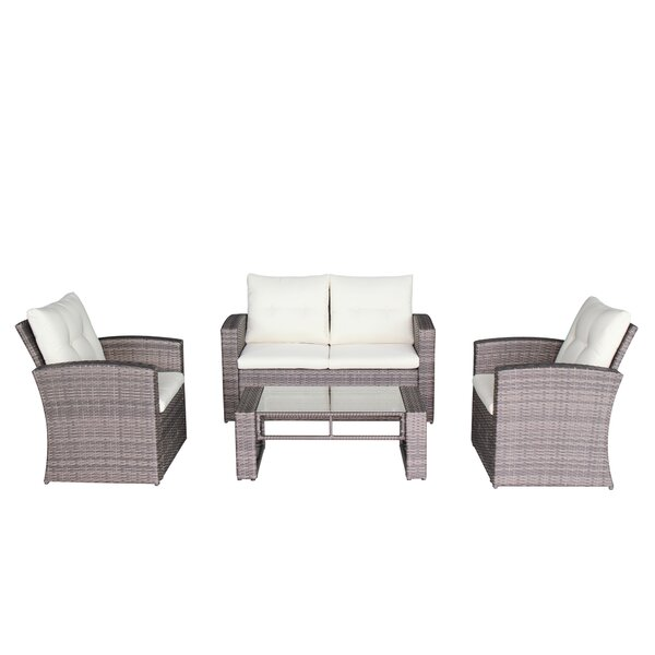Latshaw 4 Piece Sofa Set with Cushions by Wrought Studio